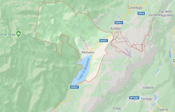 озеро Мольвено на карте Италии