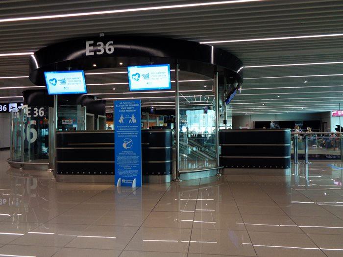 аэропорт Фьюмичино в Риме, выход на поседку
