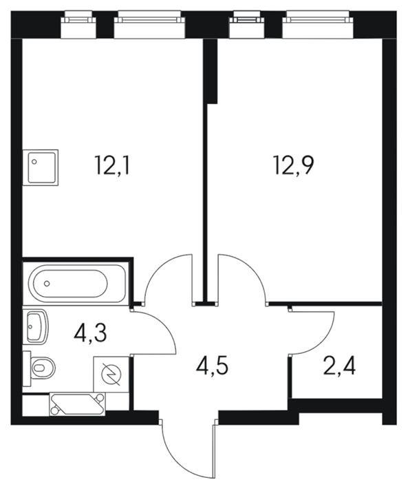 однокомнатная квартира с большой кухней