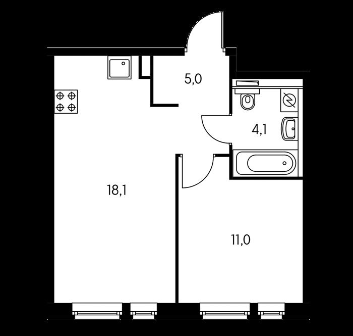 в квартире объединены кухня и гостиная