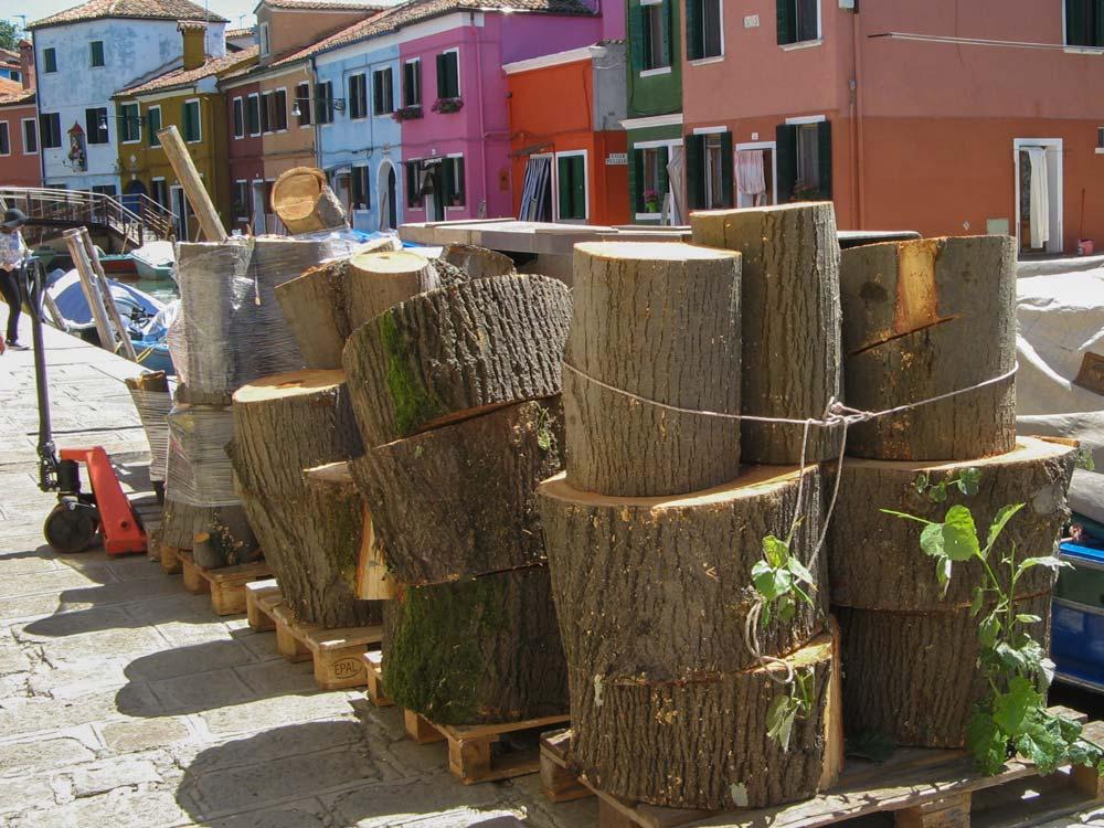заготовка дров летом на острове Бурано