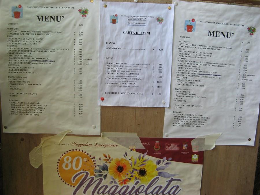 ценник на еду в Лучиньяно