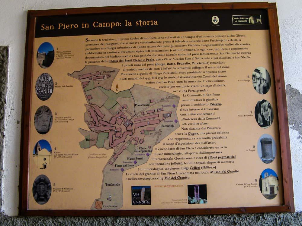 Карта Сан Пьеро с указанием расположения достопримечательностей