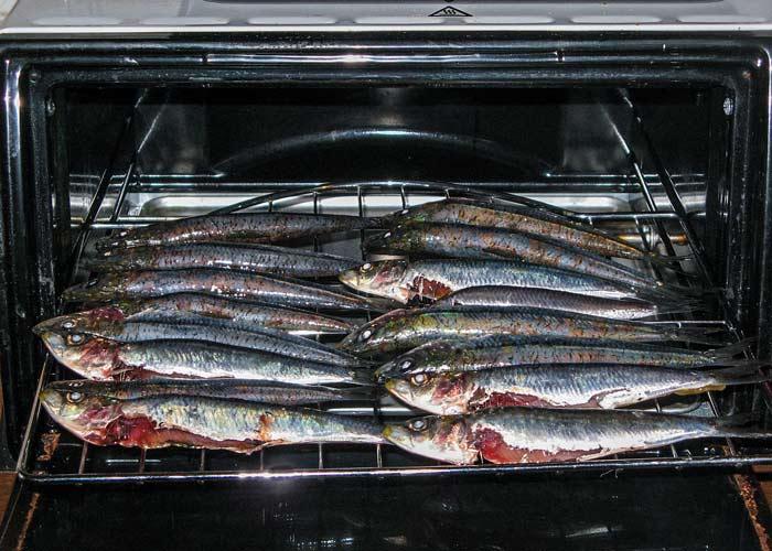 уложенны сардины отправляются в духовку
