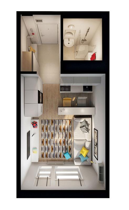 интерьер и план квартиры студии