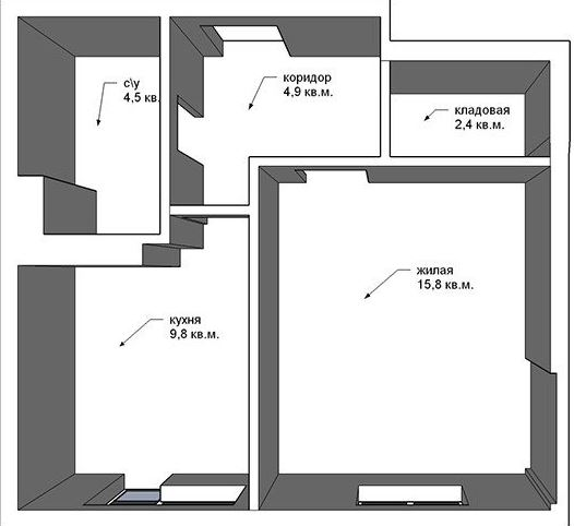 слепая квартира с кладовой